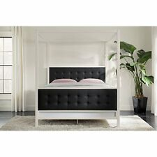 Dorel Home 4094139 Soho Modern Canopy Bed, White Metal With Black Linen, Queen