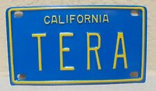 VINTAGE MINI CALIFORNIA TERA LICENSE PLATE NAME TAG SIGN BICYCLE