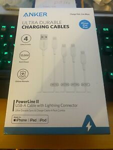 Anker PowerLine II USB-A to Lightning Cable 4-PACK - New In Box