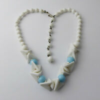 Vintage Antique Art Deco C1930s Czech White & Blue Glass Necklace