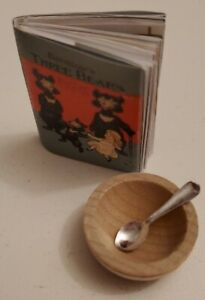 """Miniature dollhouse 1 1/2"""" readable book 3 bears with bowl and spoon LOOK!"""