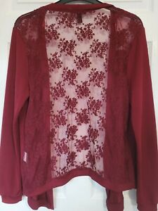 Ladies cardigan size 18 lightweight over top NEW LOOK Curves  Burgundy wine