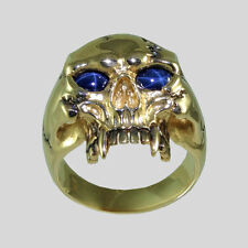 14K Vampire Yellow Gold Skull Ring Sapphire Biker Harley Size 11 by UNIQABLE