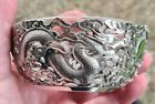 ANTIQUE CHINESE CARVED SILVER DRAGON & FLAMING PEARL CRYSTAL LINED BOWL