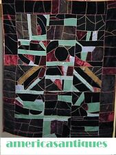 ANTIQUE  VELVET & WOOL CRAZY QUILT c 1890s HAND EMBROIDERED  + PIECED ART DECO