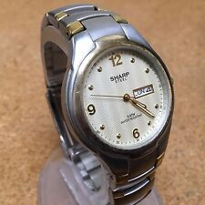 Vintage Sharp Men Dual Tone Steel Analog Quartz Watch Hours~Day Date~New Battery