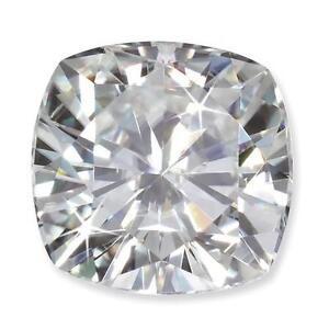 "1 Cushion Cut Brilliant Moissanite ""Pure Light"" 5.02ct tw E-IF 10mm Loose Stone"