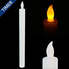 LED Stabkerze Echtwachs 6 Std Timer flammenlose Kerze Tafelkerze weiß 25cm 87010