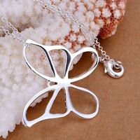 ASAMO Damen Halskette Schmetterling Anhänger Sterling Silber plattiert H1014