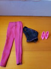 Barbie Doll pink pants and black shirt set with a pair of hot pink shoes