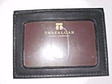 Trafalgar Mens Genuine Leather Black Card Case Money Clip wallet NIB Ships Free