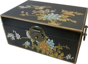 Asian Decoration Box -Traditional Black Flower and Bird Painting Medium New