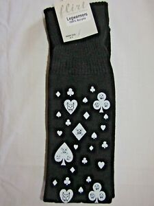 Leg Warmers Black with Diamonds Hearts Clubs Spades Skulls in White Halloween H7
