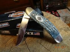 """CASE XX POCKET KNIFE 3.875"""" CLOSED SOWBELLY HARLEY GRAY BONE MADE IN U.S.A."""