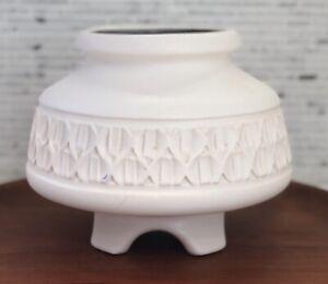 Mid Century Modern Ikebana Matte White Pottery Planter Vessel Geometric Design