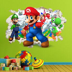 Mario Gang Smashed Wall Sticker Crack Kids Boys Girls Bedroom Decal Art Gift