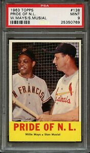 1963 TOPPS  MAYS-MUSIAL  #138  PSA  9