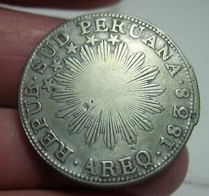 1838 ( 2 REALE )SOUTH PERU (SILVER) ---VERY RARE-----one year only-- AREQUIPA--