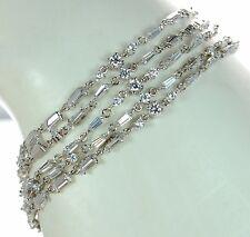 """Solid 925 Sterling Silver Baguette & Round CZ Multi-strand Bracelet 7-1/2"""" L '"""