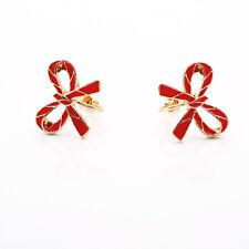 Boucles d`Oreilles Clips Doré Pince Puces Email Rouge Noeud Papillon Mignon J6