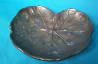 RARE 1900s ART NOUVEAU PIN DISH TRAY IN THE FORM OF A LEAF BRASS