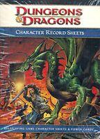 JDR RPG JEU DE ROLE / DUNGEONS ET DRAGONS 4 CHARACTER RECORD SHEET VO