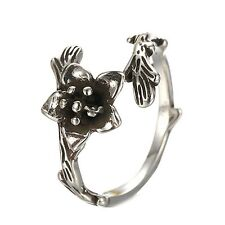 Sterling Silver 925 Plated Antique Rose Finger Midi Toe Wrap Ring R48