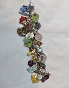 Vintage 1970's Elco Sterling Silver Charm Bracelet W/ 28 Charms Disney, States