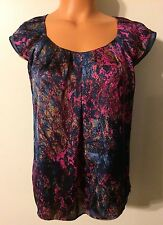 •• Women's Size Small NY Collection Blouse SS Flowing Shirt Polyester Top