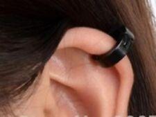 Black Clip On Cuff Wrap Hoop Stainless Steel Earrings Non Pierced Ears UK E94