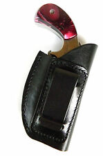 "BLACK LEATHER IN-THE-PANTS IWB CLIP-ON HOLSTER for NAA PUG .22 1"" MINI REVOLVER"