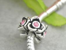 HANDMADE SILVER EUROPEAN Charm Bead for Bracelet H80 PINK FLOWER SPRING BLOOM