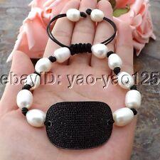 "Bracelet Cz Connector K070911 8"" White Pearl"