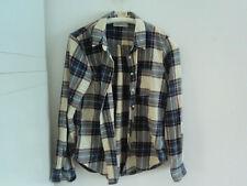 """H & M, L.O.G.G."", Damenhemd, beige/blau kariert, Gr. 38, Baumwolle"