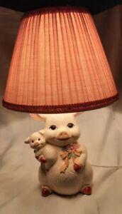 Ceramic Pig Lamp Works Includes Extra Bulb