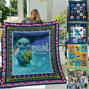 Lilo & Stitch Cotton Washed Bedding Blanket Xmas Gift Couch Quilt Throws Blanket