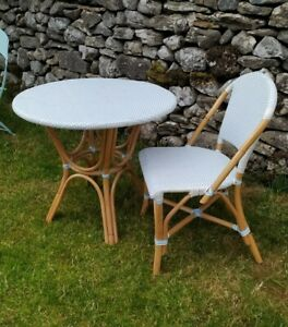Laura Ashley Bamboo Table Woven top 1 matching chair Woven Blue and White