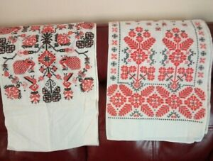 Bundle of vintage USSR Ukrainian Towel Rushnyk Rushnik Table runners 80s 90s