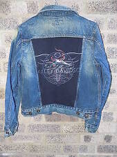Ladies custom Vintage denim jacket Harley Davidson Steve & Barrys jean jacket
