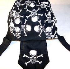 SKULL X BONE BANDANNA CAPS #204 biker hat pirate cap and cross bones do rag new