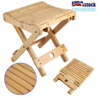 Bamboo Folding Picnic Fishing Camping Chair Shower Stool Bench Foot Rest Stool