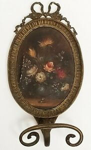 Antique Italian Hand Painted Floral Still Life Brass Hat Coat Hook Rack w/ Bow