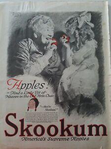 1919 Skookum red apples old woman little girl M Leone bracker art original ad