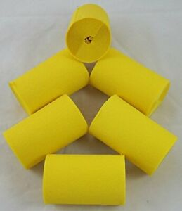 6 Yellow  Wide Crepe paper EACH Streamers 80mm x 10metres quauliy decoration