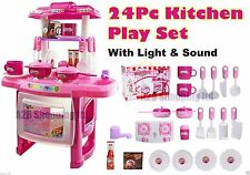 24 PC PINK ELECTRONIC COOKING KIDS KITCHEN TOY PRETEND SET SOUND & LIGHTS