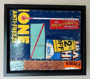 """Jeff Brown artwork found objects assemblage collage unique original """"Anti-Freeze"""