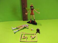 """#A04 Unknown Anime Short Brown Hair Green Wings & Halo Orange Outfit 4""""in Figure"""