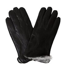 Men's Rabbit Fur Lined Genuine Soft Black Leather Gloves