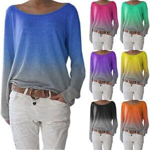Womens Ombre Tee Blouse Basic Long Sleeve Loose Sweatshirt Ladies T Shirt Tops