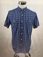 Cremieux Shirt Mens Large Slim Fit Blue Navy NWT Button Up 100% Cotton Plaid